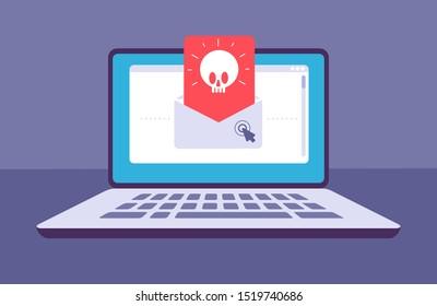 Email virus. Envelope with malware message with skull on laptop screen. E-mail spam, phishing scam and hacker attack concept