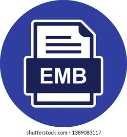 EMB File Document Icon In Trendy Style Isolated Background