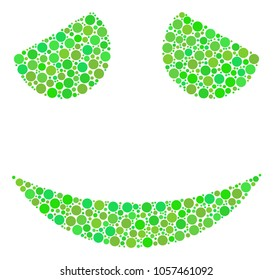 Embarassed Smile collage of dots in different sizes and eco green color tinges. Raster dots are combined into embarassed smile mosaic. Organic design concept.