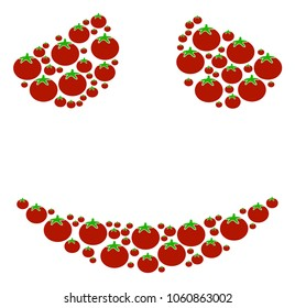 Embarassed Smile collage of tomatoes in various sizes. Raster tomato vegetable symbols are composed into embarassed smile figure. Natural raster design concept.