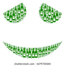 Embarassed Smile composition of wine bottles and circle particles in different sizes and green colors. Raster items are combined into embarassed smile illustration. Bar raster illustration.