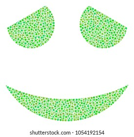 Embarassed Smile mosaic of circle dots in different sizes and fresh green color tints. Dots are organized into embarassed smile raster illustration. Organic raster illustration.
