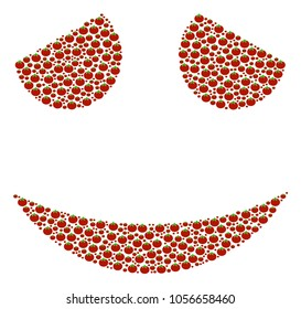Embarassed Smile mosaic of tomato vegetables. Raster tomato vegetable elements are combined into embarassed smile collage. Natural raster illustration.