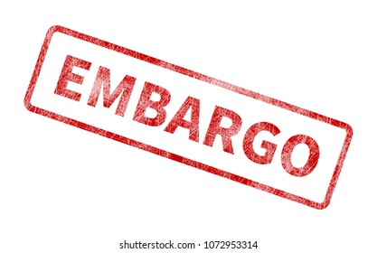 Embargo Stamp - Red Grunge Seal. Rubber stamp isolated on white background.