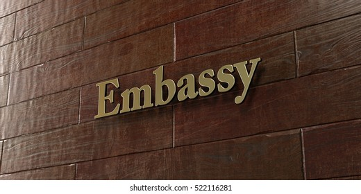 Embassy - Bronze plaque mounted on maple wood wall  - 3D rendered royalty free stock picture. This image can be used for an online website banner ad or a print postcard.
