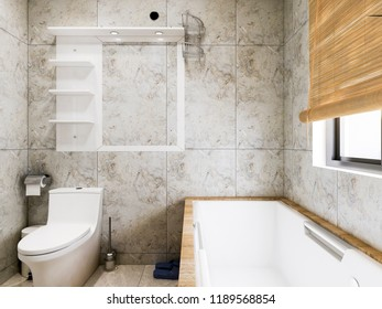 An embedded bathtub in the family bathroom, wooden hanging curtains on the window, 3D rendering