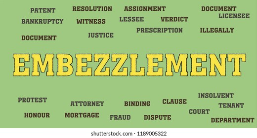 embezzlement Words tag cloud
