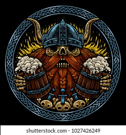 Emblem beer label. Skull of a Viking with Beer Mugs color illustration in engraved style. T-shirt print