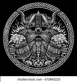 Emblem beer label. Skull of a Viking with Beer Mugs black and white illustration in engraved style