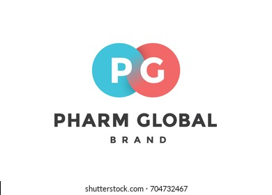 Emblem of business company with two circle, letter P, G, text Pharm. Brand template of two merged circles for branding. Emblem, signs, labels, identity, badges for business brands. Illustration