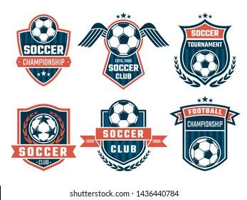 emblem of football theme. Sport logos design soccer banner and logo college club illustration