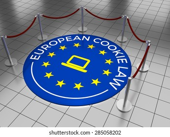An emblem on a tiled floor with the text: European Cookie Law. 3D Illustration