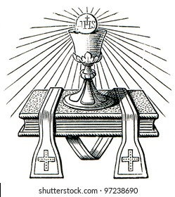 "The emblem of the priest. The Roman Catholic Church. Publication of the book ""Meyers Konversations-Lexikon"", Volume 7, Leipzig, Germany, 1910"