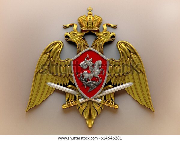 Emblem of the troops of the National Guard of the Russian Federation Rosgvardia 3D rendering