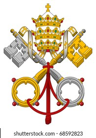 Emblem of Vatican City State showing cross keys, isolated on white background.