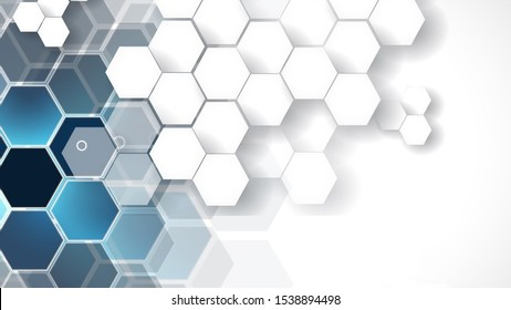 Embosed Hexagon design in white colour background