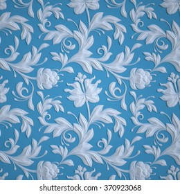 embossed flowers pattern, blue textured paper, 3d floral background