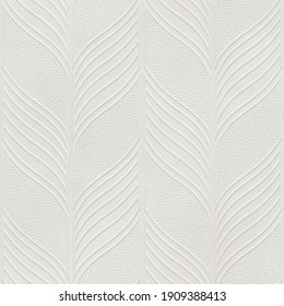 Embossed motif pattern on paper background, seamless texture, leaves and chevron pattern, 3d illustration