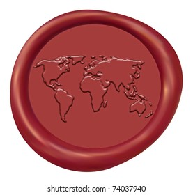 Embossed World Map Sign Red Wax Seal