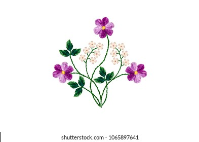 Embroidered with satin stitch bouquet of purple violets and twigs with white small flowers on white background.