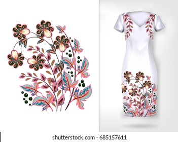 Embroidery colorful trend floral pattern.  traditional ornamental flowers pattern on dress mock up. Can be used in dressing clothes, textiles, household items.