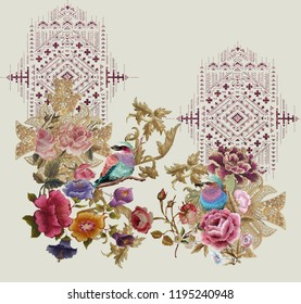 Embroidery design print