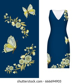 embroidery, floral pattern of butterfly, leaves and rose on classic women's dress mockup. illustration. Hand-drawn ornate pattern. Gold on dark blue