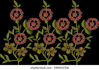 Embroidery Motif Textile Print Design For Mughal Art Manually Illustration
