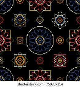 Embroidery pattern illustration. Bright seamless dark background with abstract flowers for wallcovering.