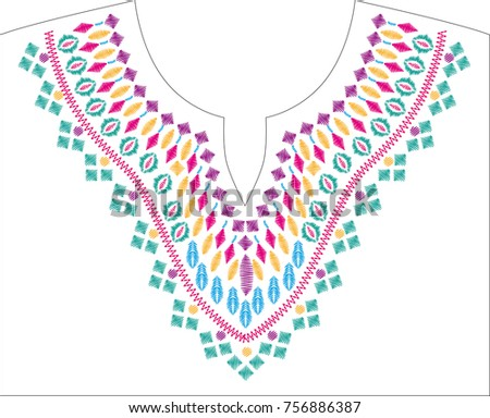 Embroidery Stitches Neckline Necklace Traditional Ornament Stock