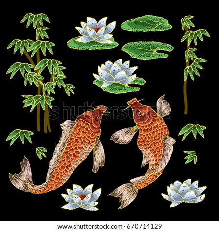 Embroidery with traditional japanese carp and flowers