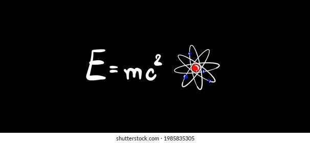 E=mc2 equation on blackboard, physics equation