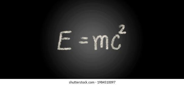 E=mc2 on chalkboard background, mass equation on chalkboard, physical equation background