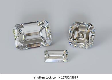 Emerald, asscher, baguette cut diamonds on white background. 3D illustration