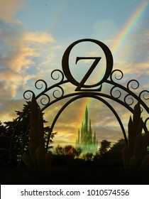 emerald city gate and rainbow