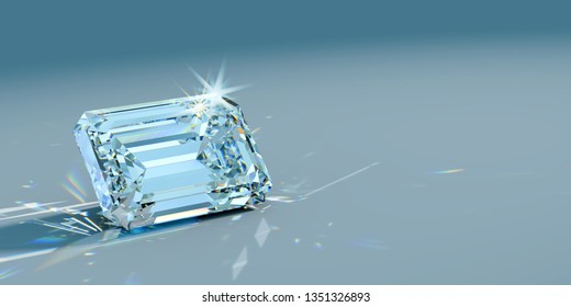 Emerald cut diamond with beautiful caustics rays on turquoise  background. 3D illustration