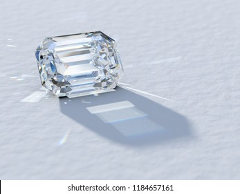 Emerald cut diamond close-up on white background, rear light, caustics rays. 3D illustration