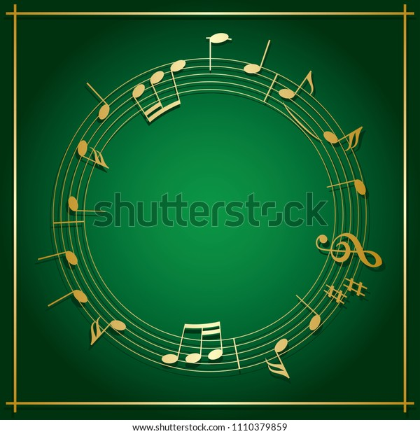 emerald green background with round music frame - gold decorations