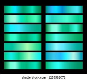 Emerald green gradient foil texture gradienats templates set. Collection of aquamarine gradient illustration gradation for backgrounds, cover, frame, ribbon, banner, flyer, card poster design