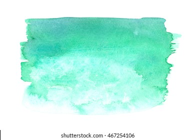 Emerald green textured gradient painted in watercolor on white isolated background
