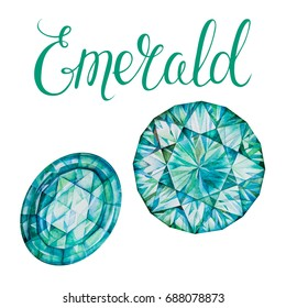 Emerald isolated on white background. Set of May birthstones. Close up illustration of gems drawn by hand with watercolor. Realistic faceted stones