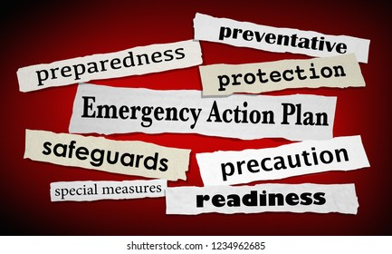 Emergency Action Plan Newspaper Headlines Prepared Ready 3d Illustration