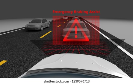 Emergency Braking Assist (EBA) sysyem to avoid car crash concept. Smart Car technology, 3D rendering image.