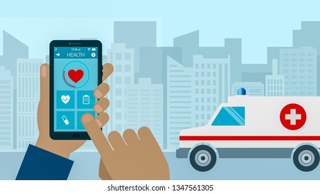 emergency call, concept of medicine and new technologies, cartoon, flat style