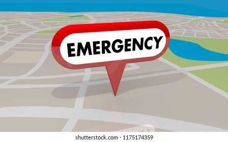 Emergency Crisis Critical Problem Map Pin 3d Illustration
