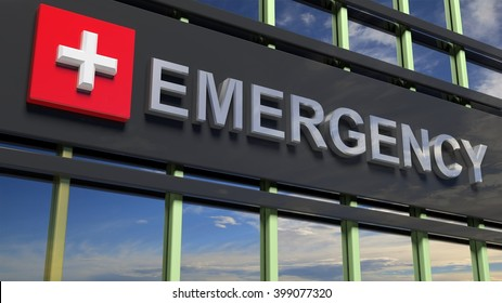 Emergency department building sign closeup, with sky reflecting in the glass.3d rendering