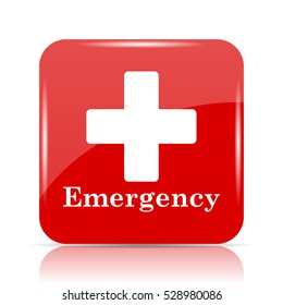 Emergency icon. Emergency website button on white background.