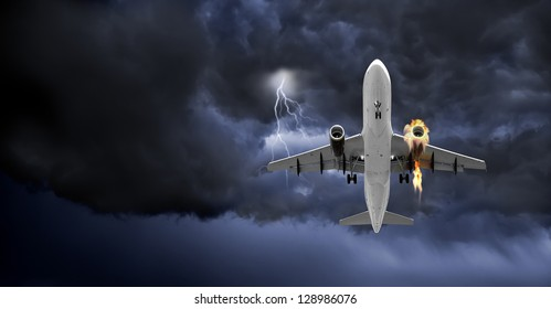 Emergency landing of a Jet Carrier with left engine on fire - (Not a real situation) - Concept of emergency.(Panoramic Frame)