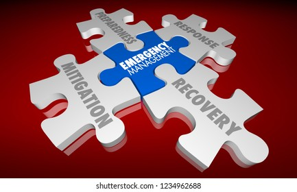 Emergency Management Puzzle Pieces Mitigation Response 3d Illustration