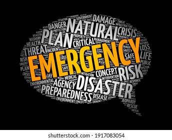 Emergency Message Bubble Word Cloud Collage, Hintergrund des Gesundheitskonzepts
